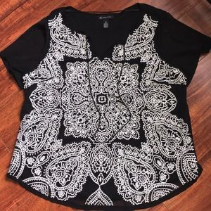 INC Black Embroidered Mesh Top